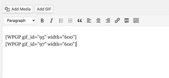 Código abreviado GIF en el editor de publicaciones de WordPress