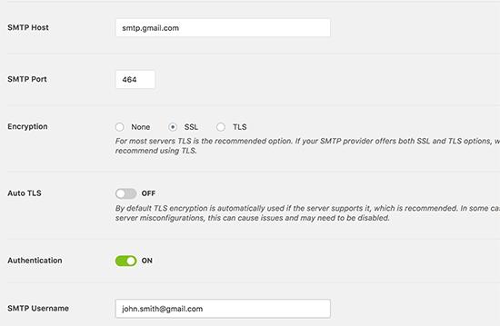 Nastavenia protokolu SMTP v Gmaile pre doplnok SMP pre e-mail WP