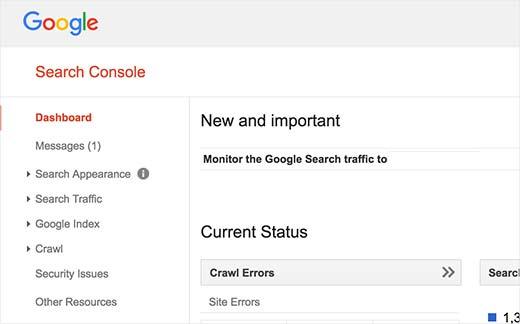 Bảng điều khiển tìm kiếm của Google