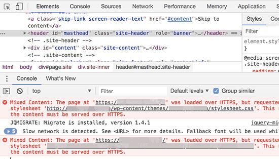 Sử dụng công cụ kiểm tra để tìm lỗi nội dung hỗn hợp