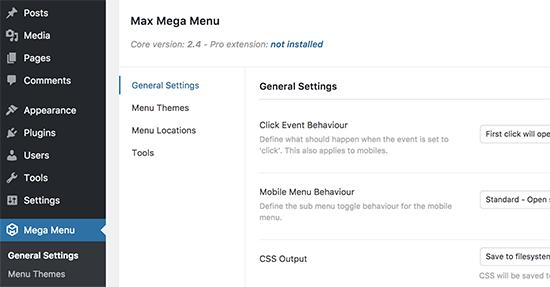 Cài đặt menu Mega