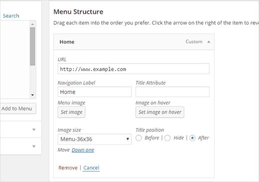 Thêm hình ảnh vào một mục menu trong WordPress
