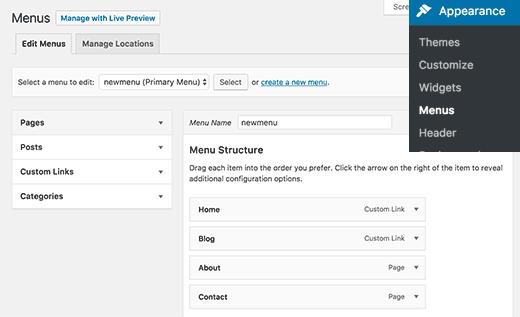 Tạo và quản lý menu điều hướng trong WordPress