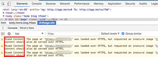 Lỗi nội dung hỗn hợp được hiển thị trong bảng điều khiển trình duyệt