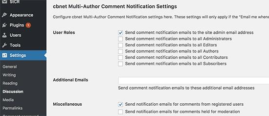 Configuración de notificaciones de comentarios de varios autores