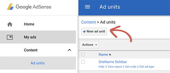Crear un nuevo bloque de anuncios en Google AdSense
