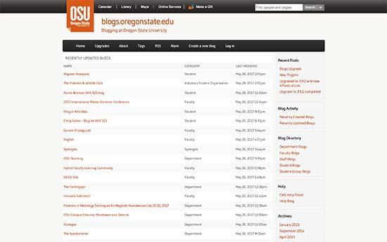 Blogs de la Universidad Estatal de Oregón
