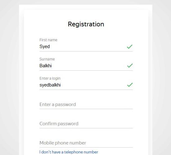 Đăng ký Yandex