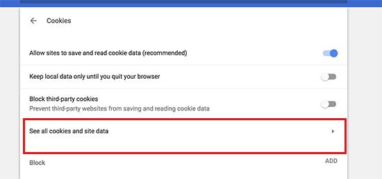Xem tất cả cookie và dữ liệu trang web