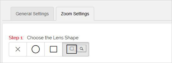 Seleccionar forma de lente de zoom