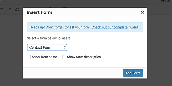 Seleccione e inserte el formulario en una publicación o página de WordPress