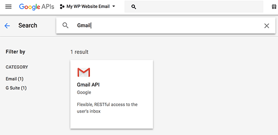 Vyberte rozhranie Gmail API