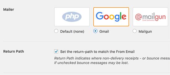 Chọn Gmail và định cấu hình đường dẫn trở lại