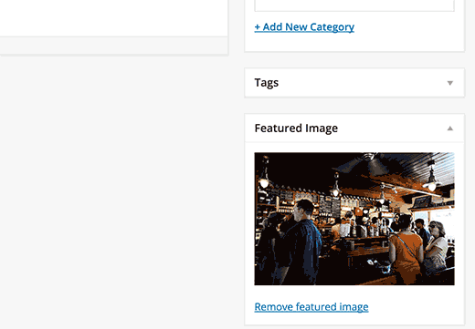 Una imagen destacada agregada en una publicación de WordPress