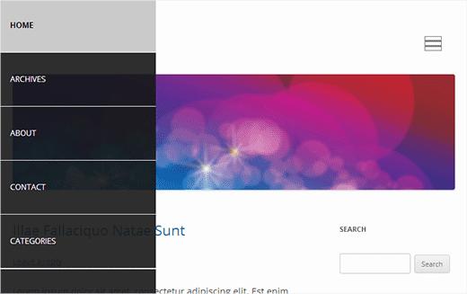 Un menú de navegación del panel de diapositivas en WordPress