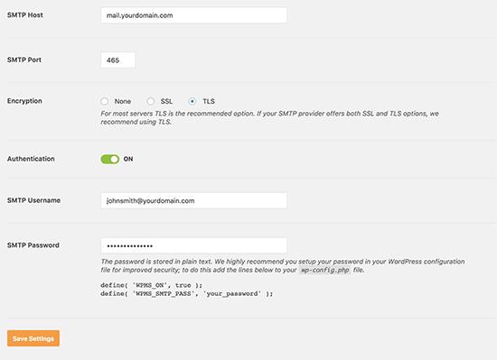Nastavenia SMTP