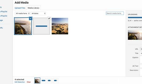 Tải lên nhiều tệp thông qua trình tải lên phương tiện WordPress