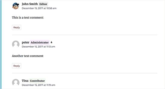 Odznaky rolí používateľov zobrazené s vašimi komentármi