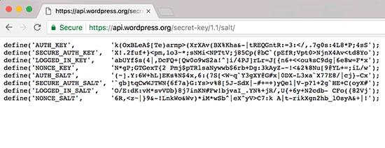 Generovanie bezpečnostných kľúčov WordPress