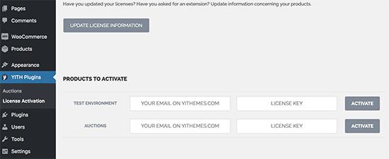 Ingrese la clave de licencia del complemento de subastas de WordPress