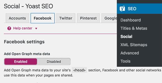 Yoast SEO Facebook metadatos de gráfico abierto