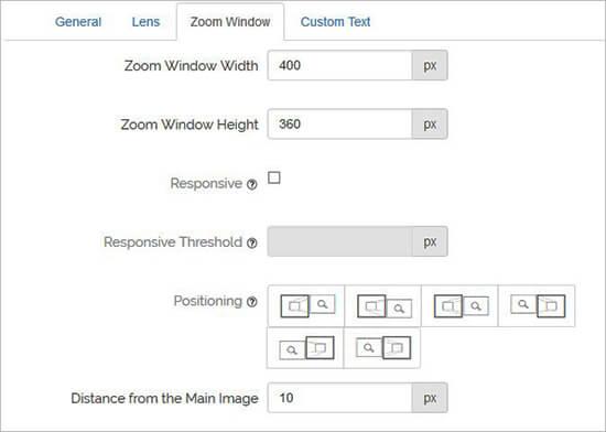 Configuración de ventana de zoom