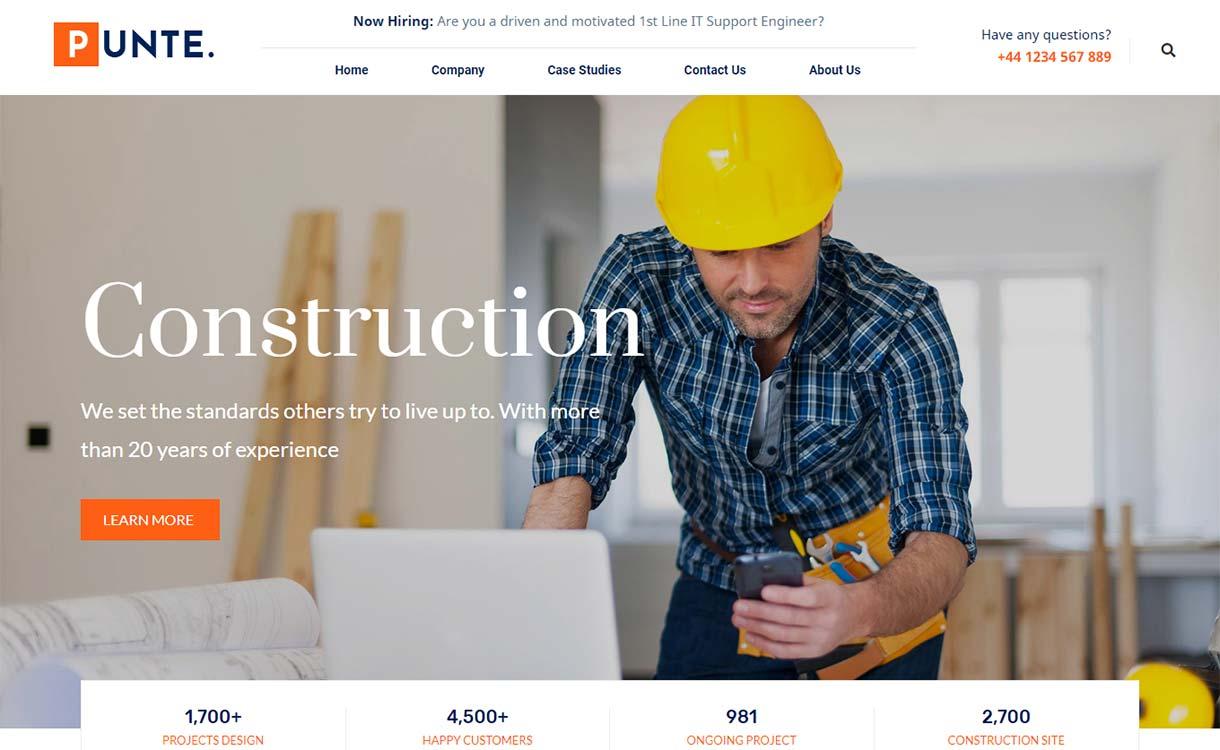 Construction Mejor plantilla de construcción de WordPress Punte