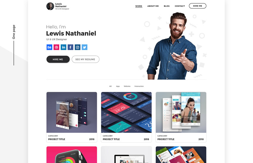 portfólio dizajnu webdesign adobe design photoshop šablóna zadarmo psd