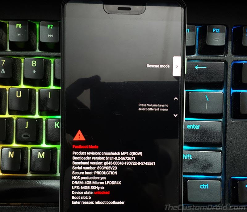 Modo de recuperación de Google Pixel Android 10 Q
