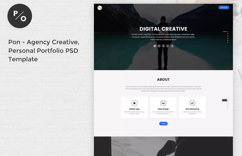 Pon Responsive Portfolio web design layout adobe template photoshop format free psd