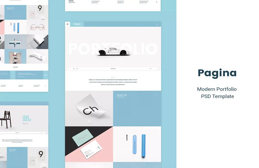 portfólio kreatívnych stránok web design design Adobe Photoshop šablóna zadarmo psd