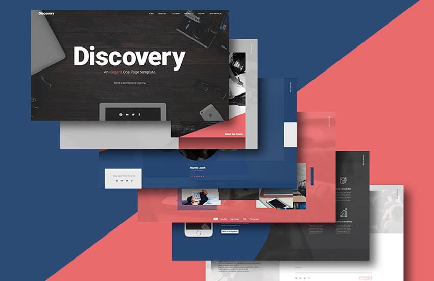 objav jednej stránky web design web design adobe photoshop šablóna zadarmo psd