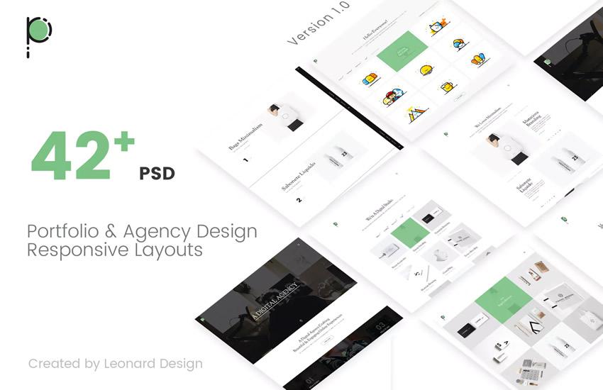 Poseidon Creative Portfolio Agency webdesign adobe photoshop šablóna zadarmo psd