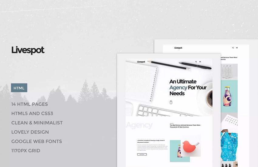 Livespot HTML webdesign adobe design photoshop šablóna psd formát