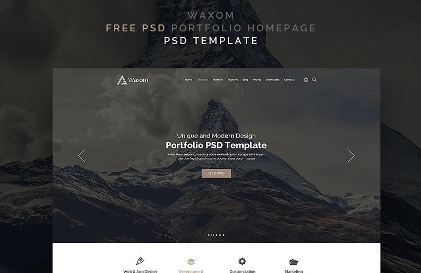 osobné portfólio voskov web design adobe šablóna photoshop formát zadarmo psd