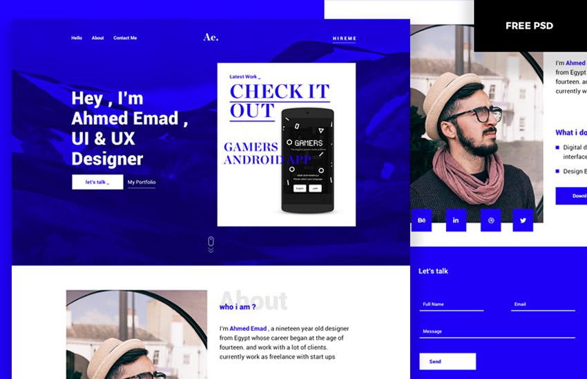 Jednostránkové portfólio, rozloženie webdizajnu, šablóna Adobe Photoshop, bezplatný formát PSD