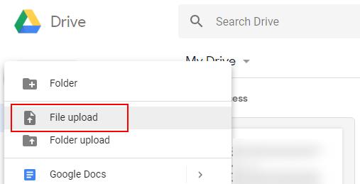 Przesyłanie plików z Dysku Google