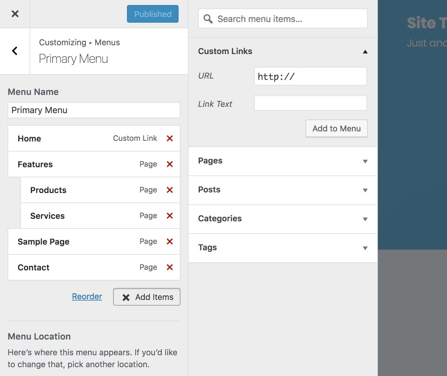 Sección de enlace personalizado