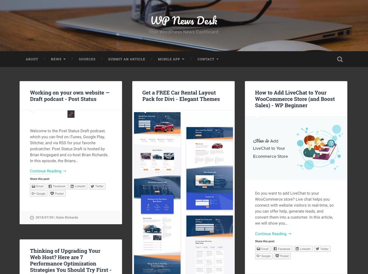 Agregador de WP RSS: Agregación de noticias RSS de WPNewsDesk