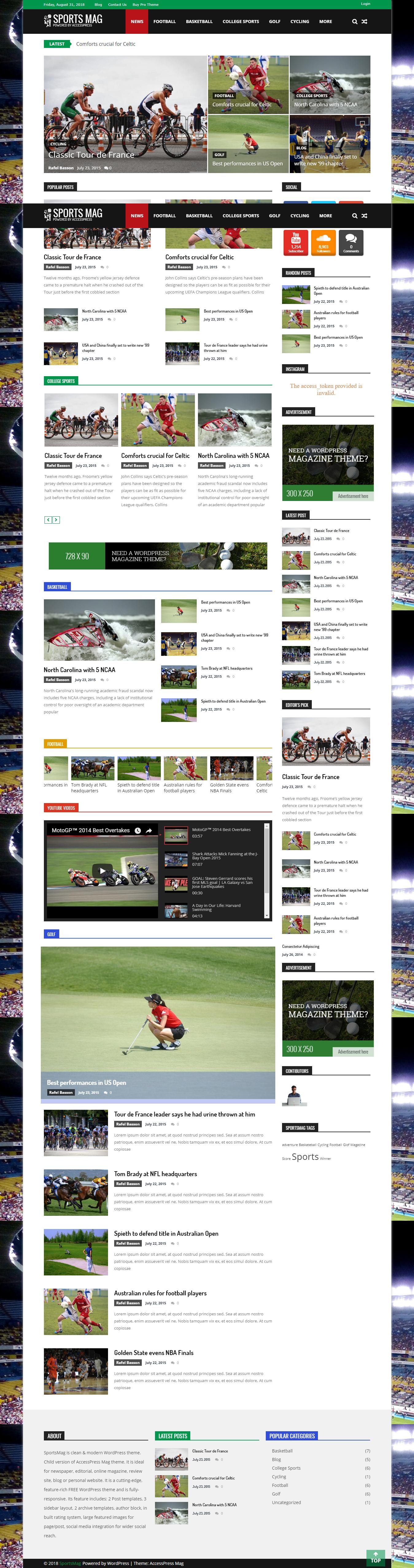SportsMag - najlepšie bezplatné WordPress témy AdSense