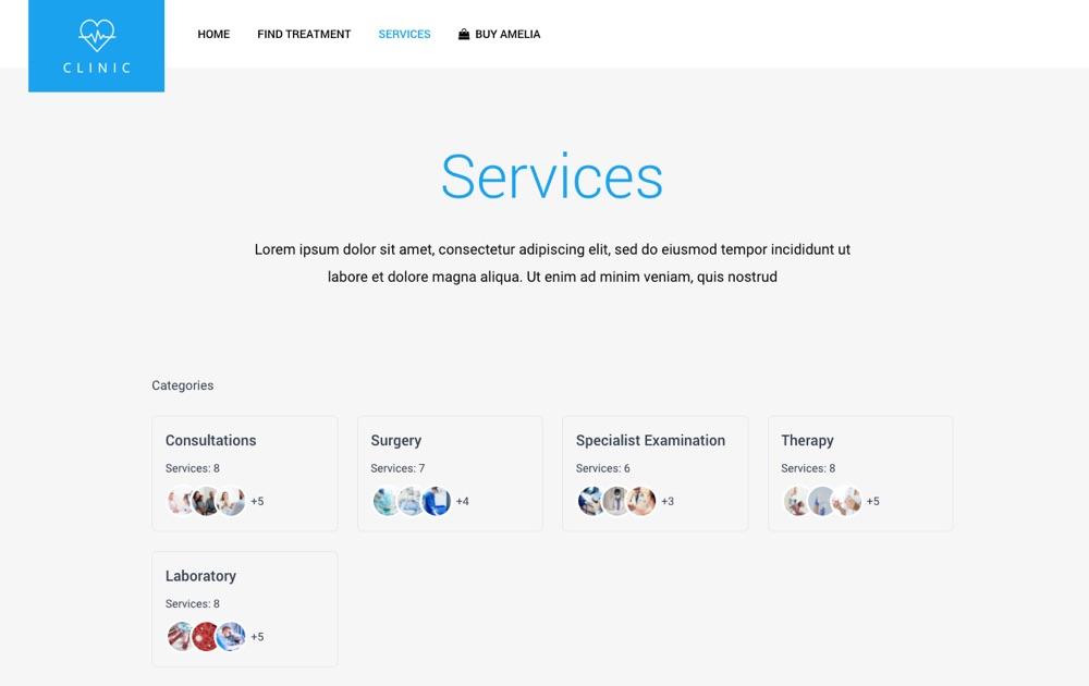 Amelia Booking Plugin Review: Catálogo de servicios y categorías