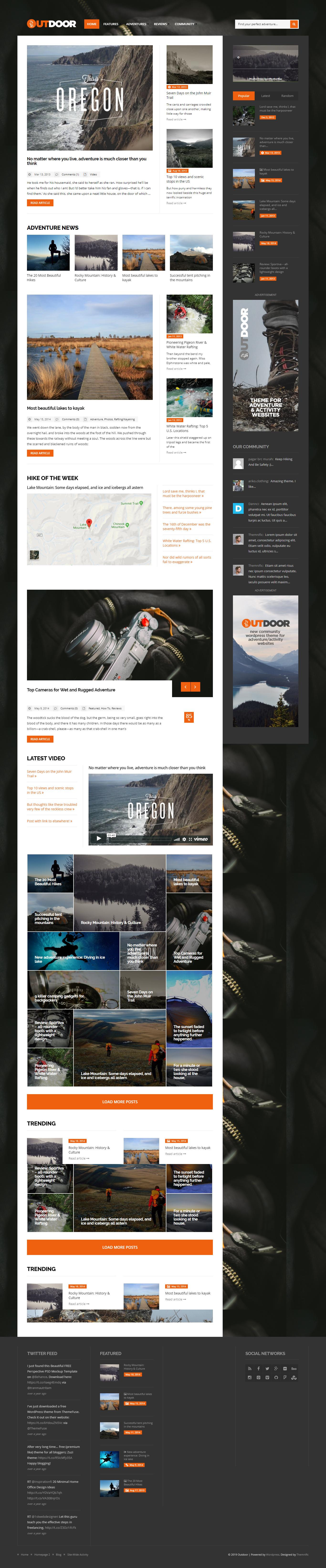Vonku: najlepšia prémiová téma WordPress pre outdoorové aktivity