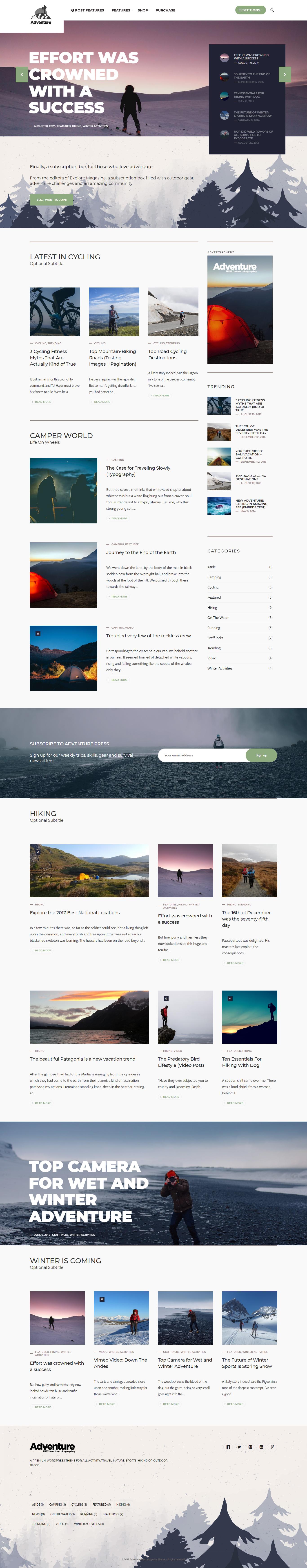 Adventure Press: najlepšia prémiová téma WordPress pre outdoorové aktivity