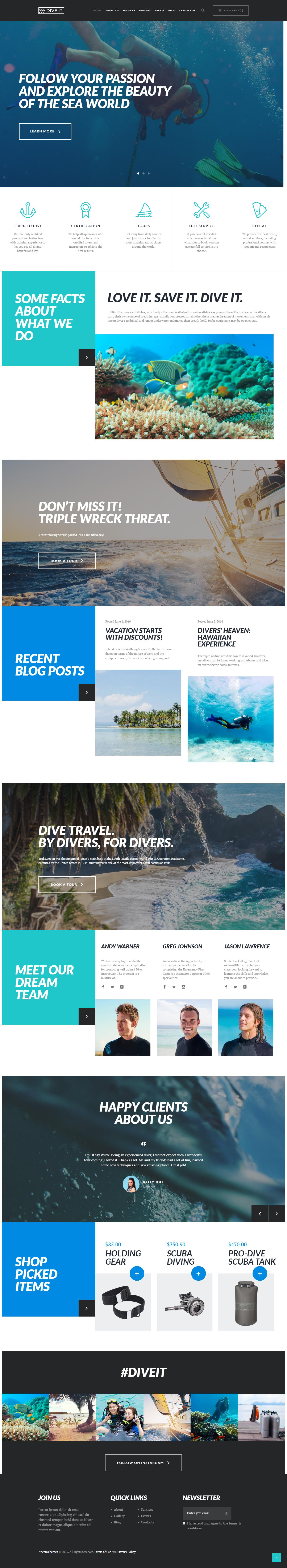 DiveIt - najlepšia téma WordPress pre prémiové outdoorové aktivity