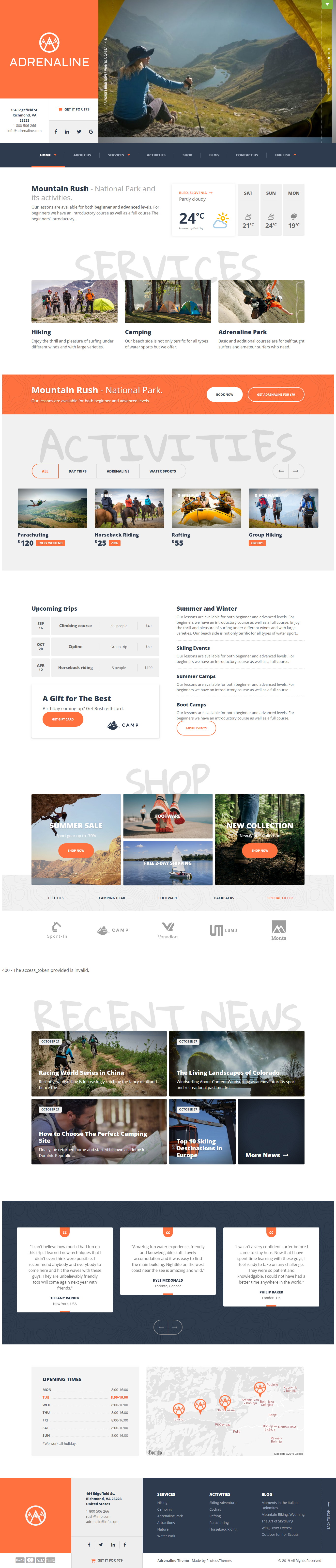 Adrenalín: to najlepšie téma WordPress pre prémiové outdoorové aktivity