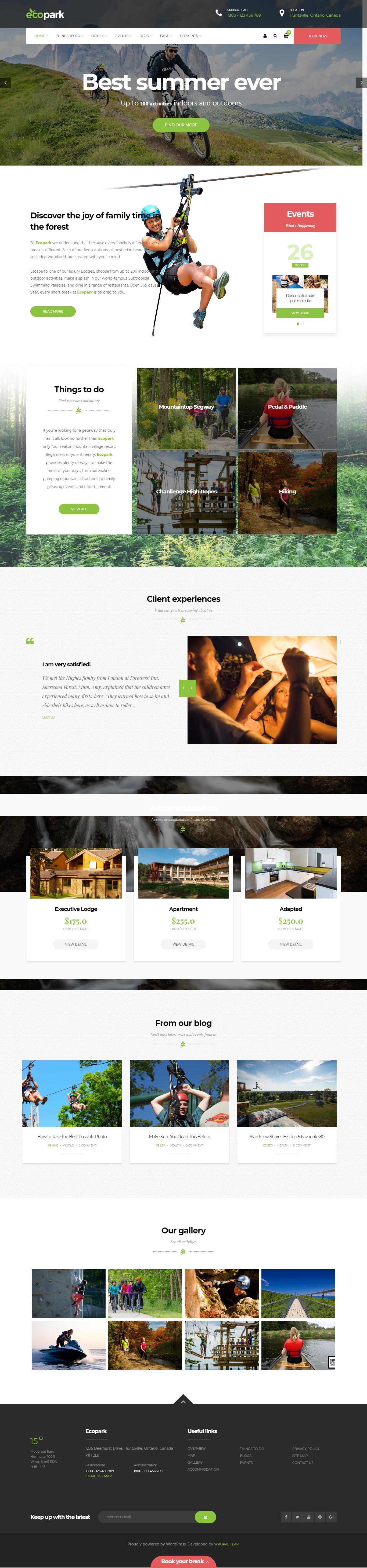 Ecopark: to najlepšie téma WordPress pre prémiové outdoorové aktivity