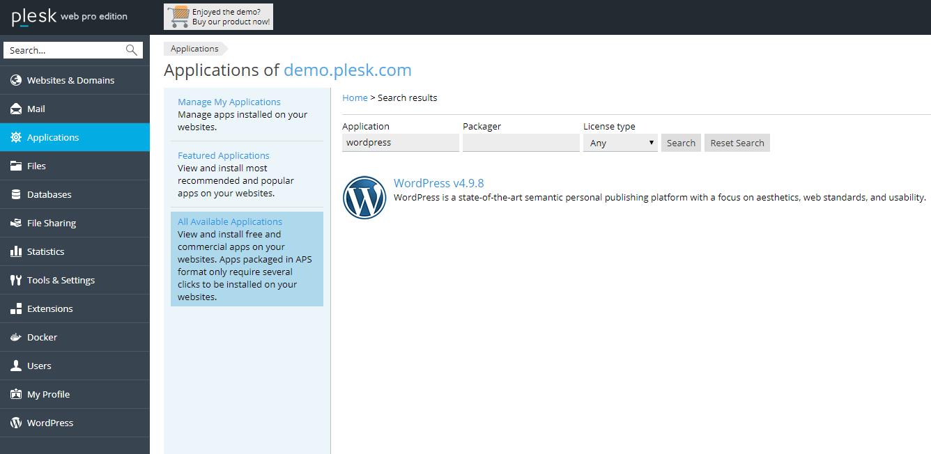 Nainštalujte program WordPress s programom Plesk