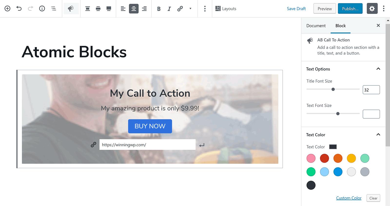 Blokovať výzvu na akciu