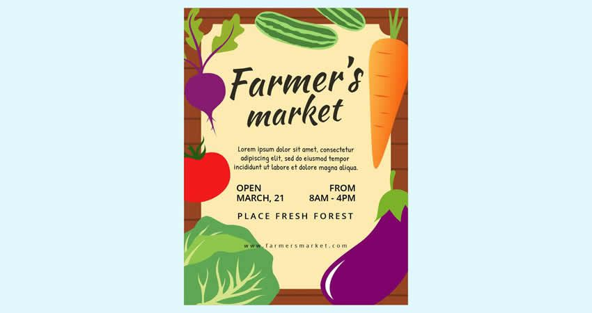 Farmer's Market Flyer Template Photoshop PSD