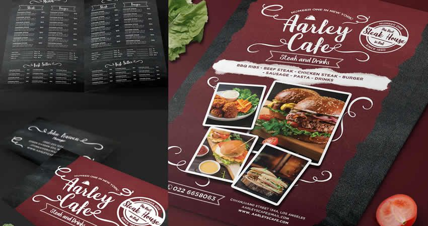 Tabuľa Jedlo Menu Photoshop PSD Flyer Template
